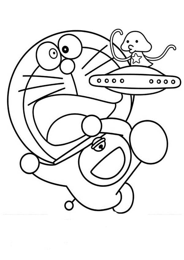 doraemon with cute alien coloring pages