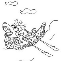 Dragon Boat Race in Chinese Symbols Coloring Page