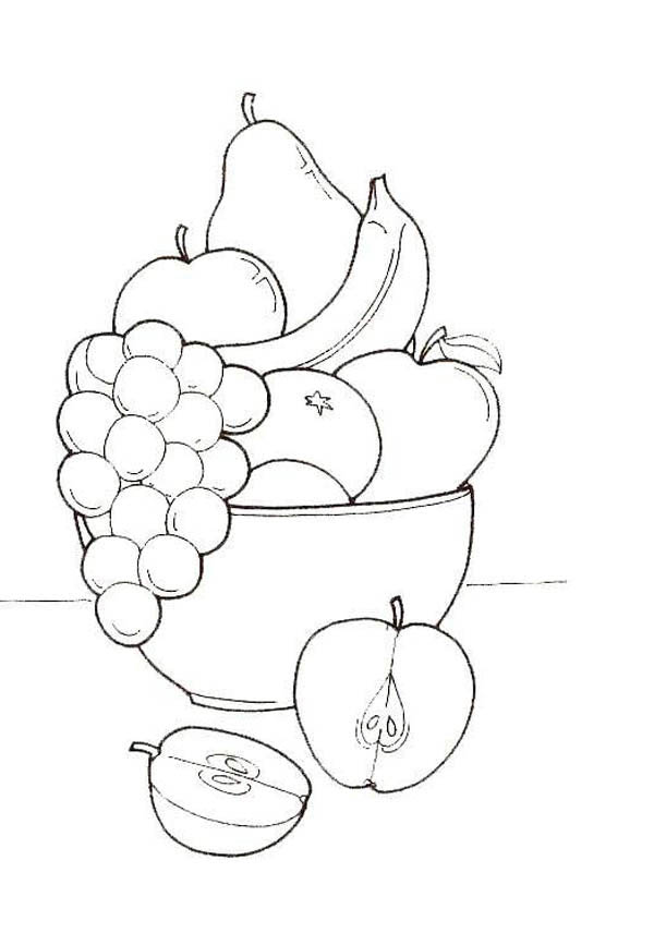 drawing object fruit coloring page