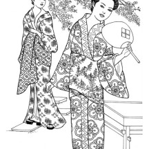 Drawing of Geisha Coloring Page