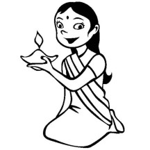 Dress Up for Diwali Celebration Coloring Page