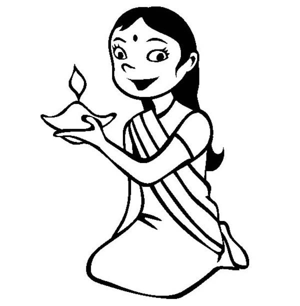 Dress Up for Diwali Celebration Coloring Page NetArt