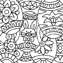 Easter Egg with Rabbit Picture on it Coloring Page