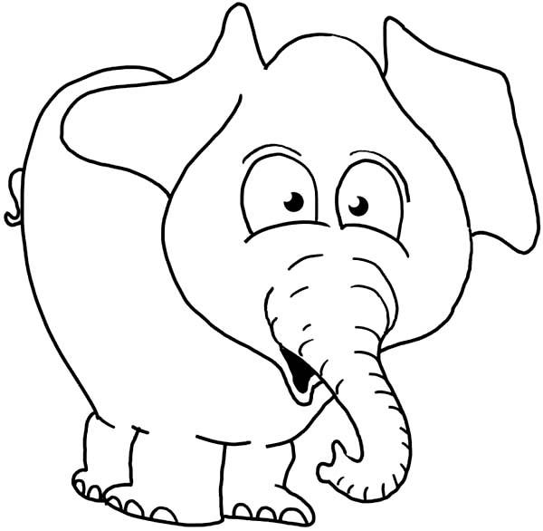 Elephant Surprise Face Coloring Page - NetArt