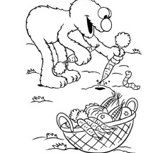 Elmo Harvest Carrots Coloring Page
