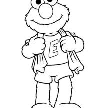Elmo Just Take a Bath Coloring Page