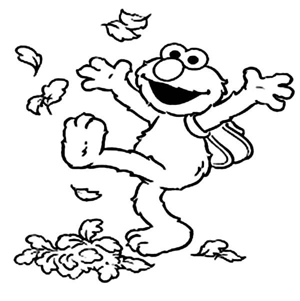 Elmo Kicking Dry Leaves Coloring Page NetArt