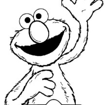 Elmo Raise His Hand Coloring Page