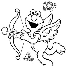 Elmo Wearing Wings as Cupid Coloring Page