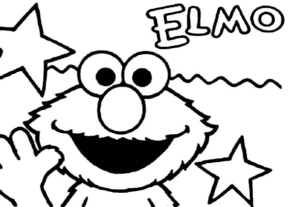 Elmo And Stars Coloring Page