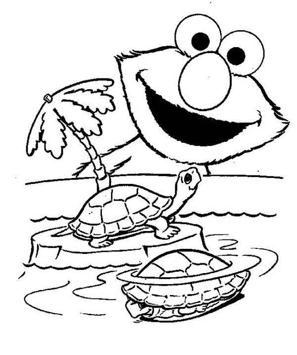 Elmo and Turtle Coloring Page