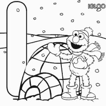 Elmo in Front of Igloo Coloring Page
