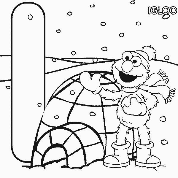 elmo in front of igloo coloring page netart - Igloo Pictures To Color
