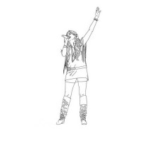 Famous Artist Miley Stewart in Hannah Montana Coloring Page