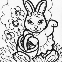 Female Easter Bunny Holding a Basket Easter Eggs Coloring Page