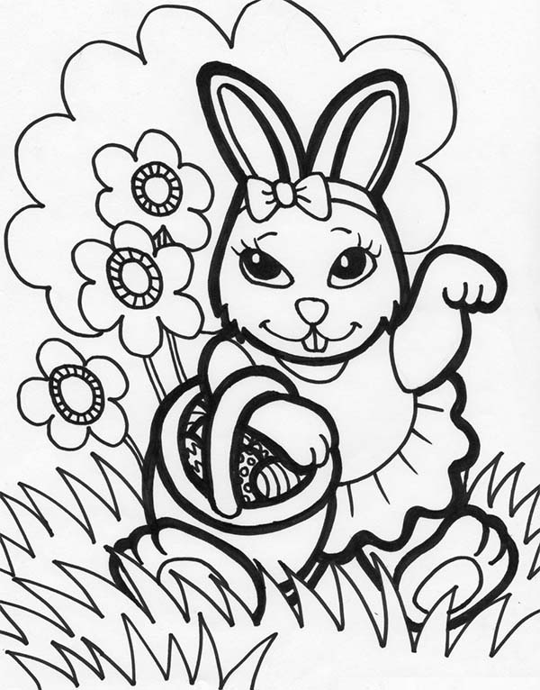 Female Easter Bunny Holding a Basket Easter Eggs Coloring Page ...