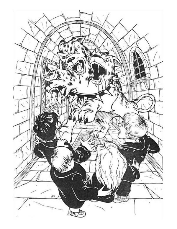 Fluffy Three Headed Dog in Harry Potter Movie Coloring Page