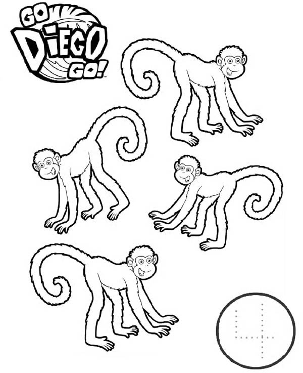 Four Monkeys in Go Diego Go Coloring Page - NetArt