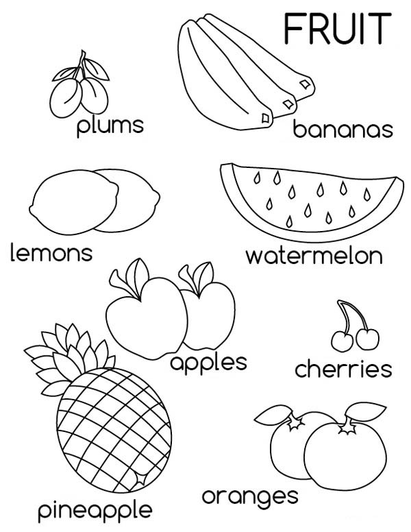 Fruit Picture Coloring Page for Kids
