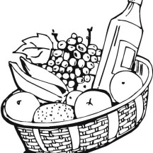 Fruit and Red Wine Coloring Page