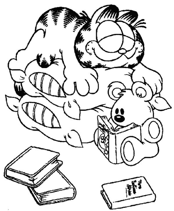 Garfield Sleeping on Two Stack of Pillows Coloring Page