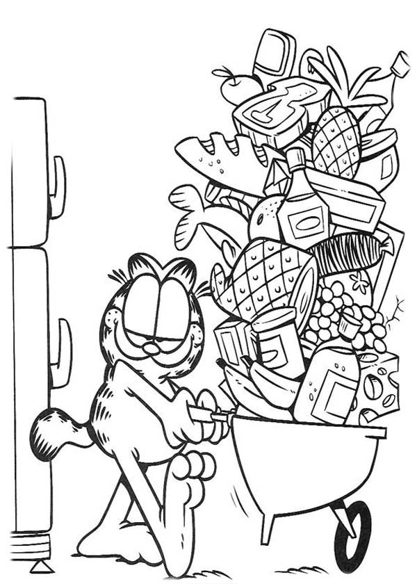Garfield Taking Food from Freezer Coloring Page