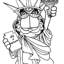 Garfield the Liberty Statue Coloring Page