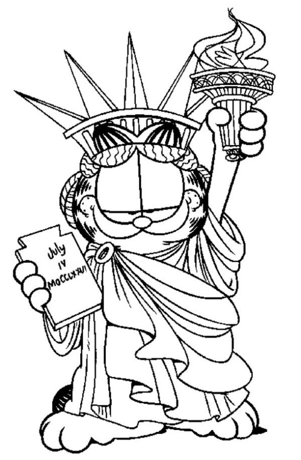 statue of liberty color page - garfield the liberty statue coloring page