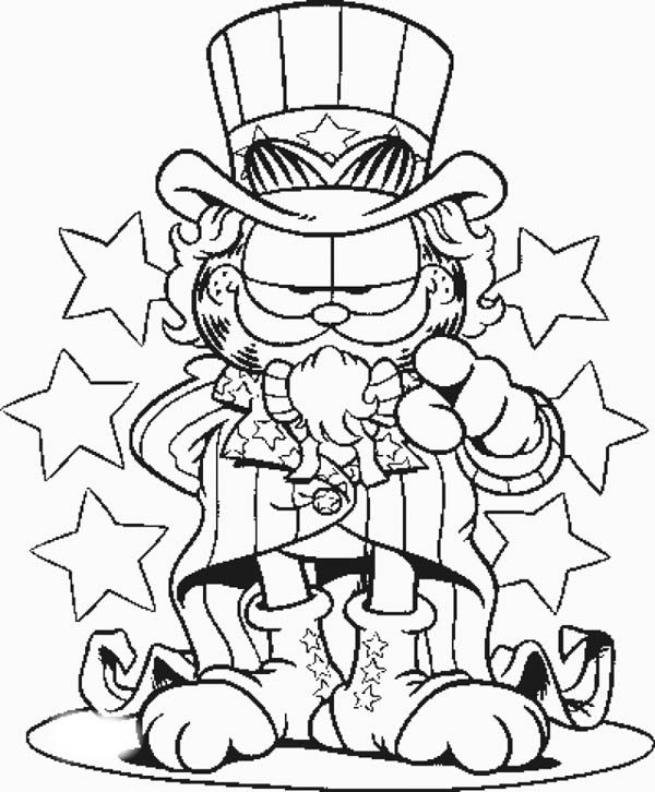 Garfield The Uncle Sam Coloring Page