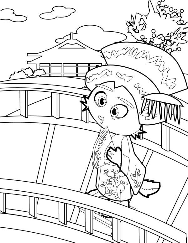 Geisha Cross the Bridge Coloring Page - NetArt