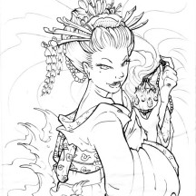 Geisha Love Poison Coloring Page