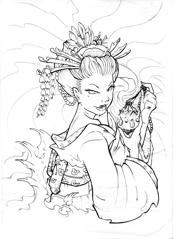 Here Home Geisha Geisha Love Poison Coloring Page Geisha Coloring Pages