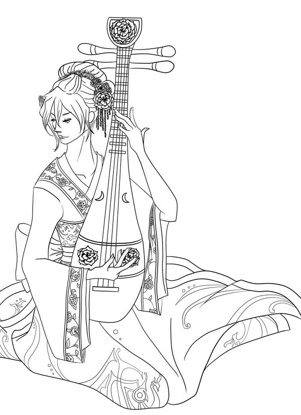 Geisha Playing Sitar Coloring Page Netart