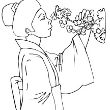 Geisha Smelling Blossom Flower Coloring Page