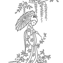 Geisha Under Blooming Tree Coloring Page