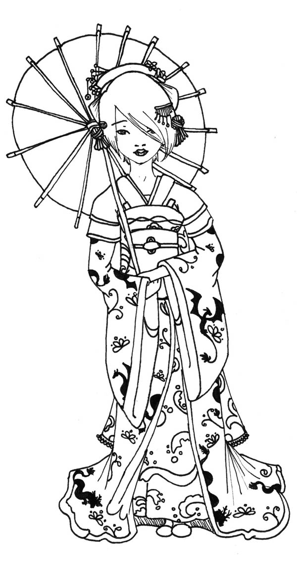 Geisha Under Traditional Unbrella Coloring Page