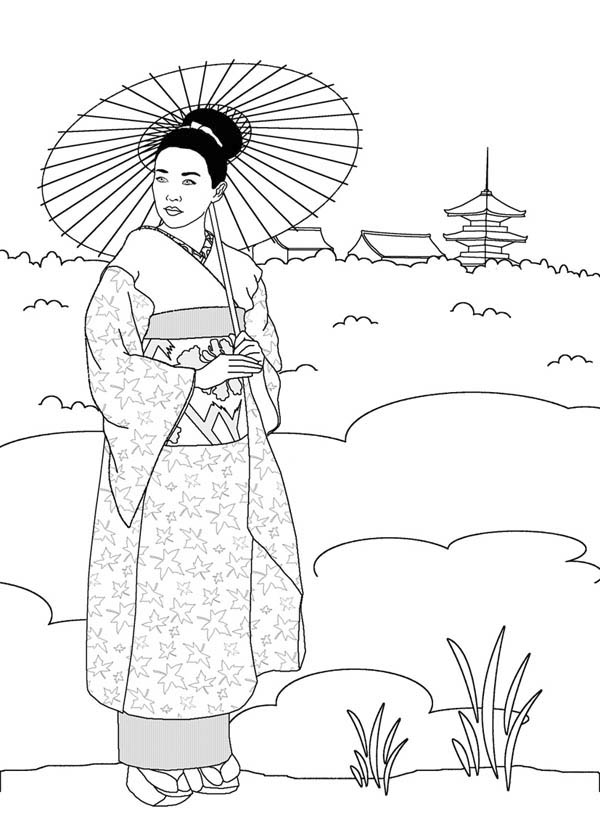 Geisha in Japan Land Coloring Page