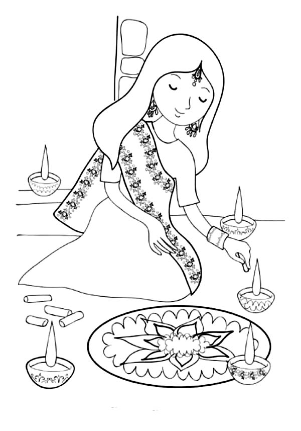 Deepavali festival free colouring pages for Free diwali coloring pages