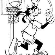 Goofy Doing Lay Up Coloring Page