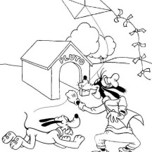 Goofy and Pluto Playing Kite Coloring Page