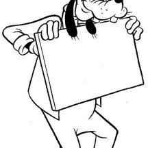 Goofy with Blank White Board Coloring Page