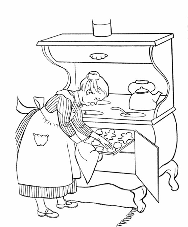 Grandma Cooking for in Gran Parents Day Coloring Page - NetArt