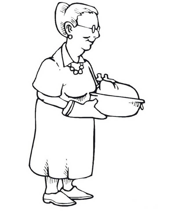Grandma Famous Turkey on Gran Parents Day Coloring Page - NetArt