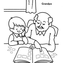 Grandpa Teach His Grandchild to Read on Gran Parents Day Coloring Page