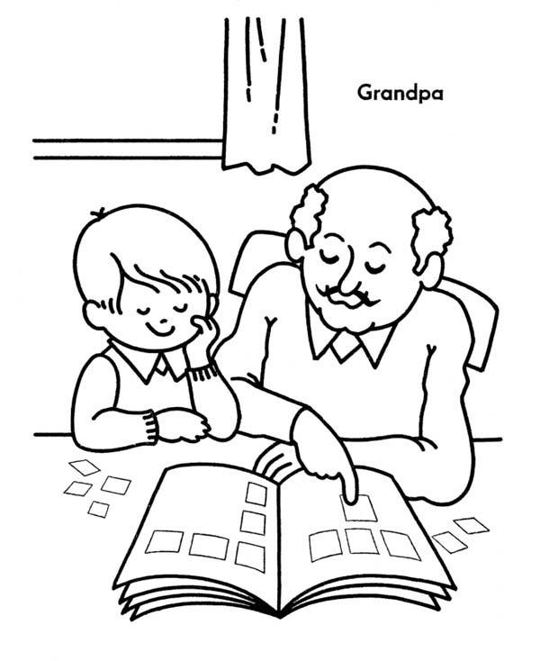 Grandpa Teach His Grandchild to Read on Gran Parents Day