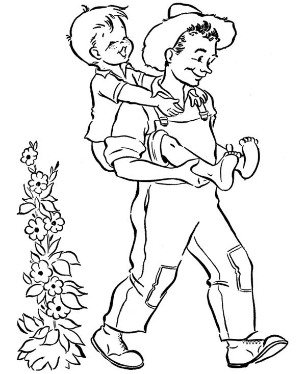 Grandpa and Grandchild in Gran Parents Day Coloring Page