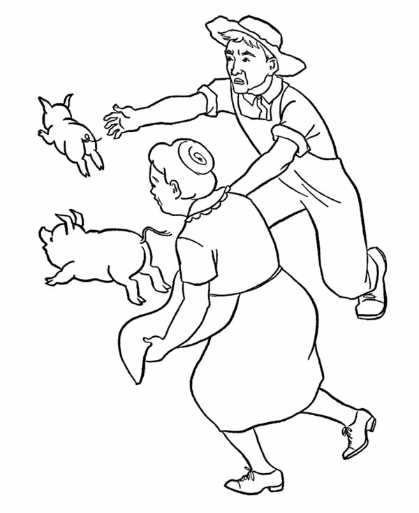 Grandparents Catch Pig on Gran Parents Day Coloring Page