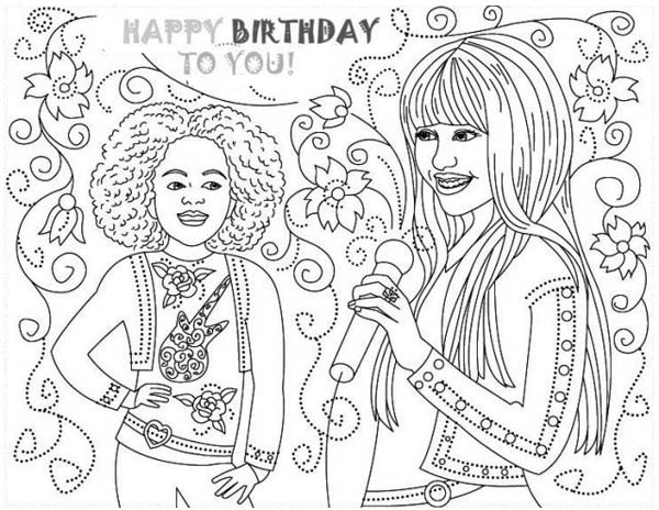 Happy Birthday Hannah Montana Coloring Page