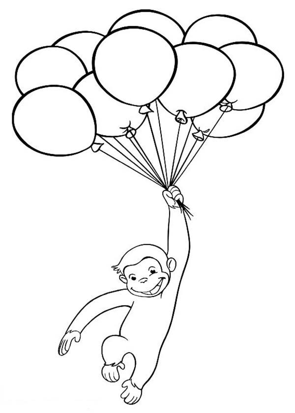 Happy Curious George Coloring Page - NetArt