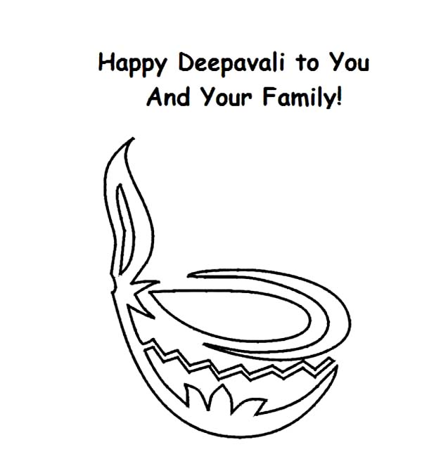 Happy Diwali for You and Your Family Coloring Page